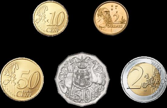 Vergleich von australischen und europäischen Münzen
