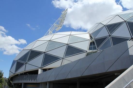Detailaufnahme des Melbourner Fußball-Stadtions AAMI Park.