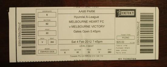 Eintrittskarte zu Melbourne Heart gegen Melbourne Victory