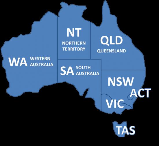 Australien Karte Bundesstaaten
