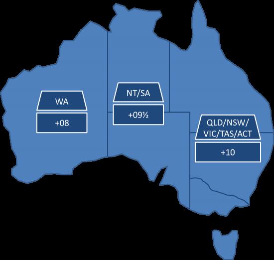 Australien Karte Bundesstaaten Standardzeit