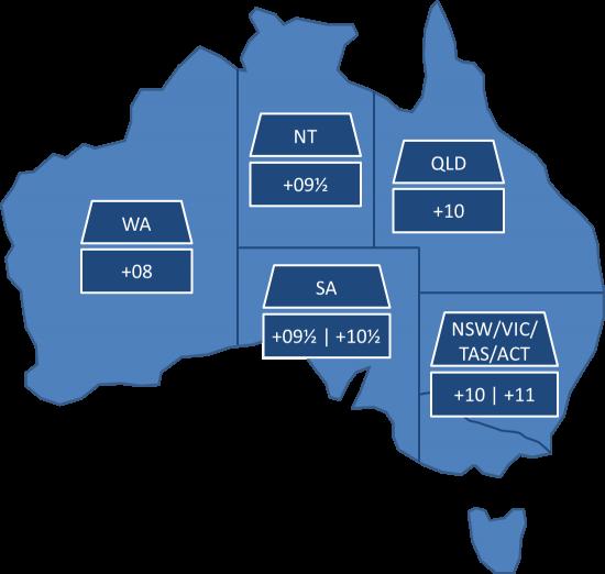 Australien Karte Bundesstaaten Standardzeit Sommerzeit