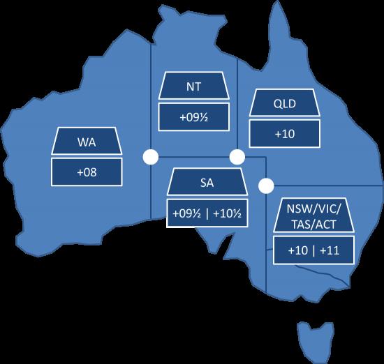 Australien Karte Bundesstaaten Standardzeit Sommerzeit Corners