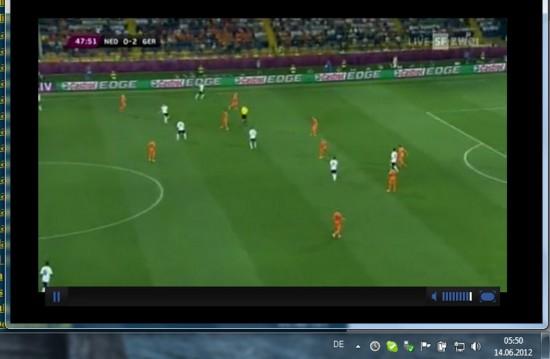 EM EURO 2012 in Australien - Screenshot Deutschland Niederlande mitten in der Nacht